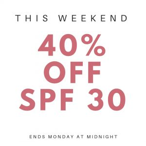 This weekend only get 40% OFF the SPF 30 all Day Moisturiser