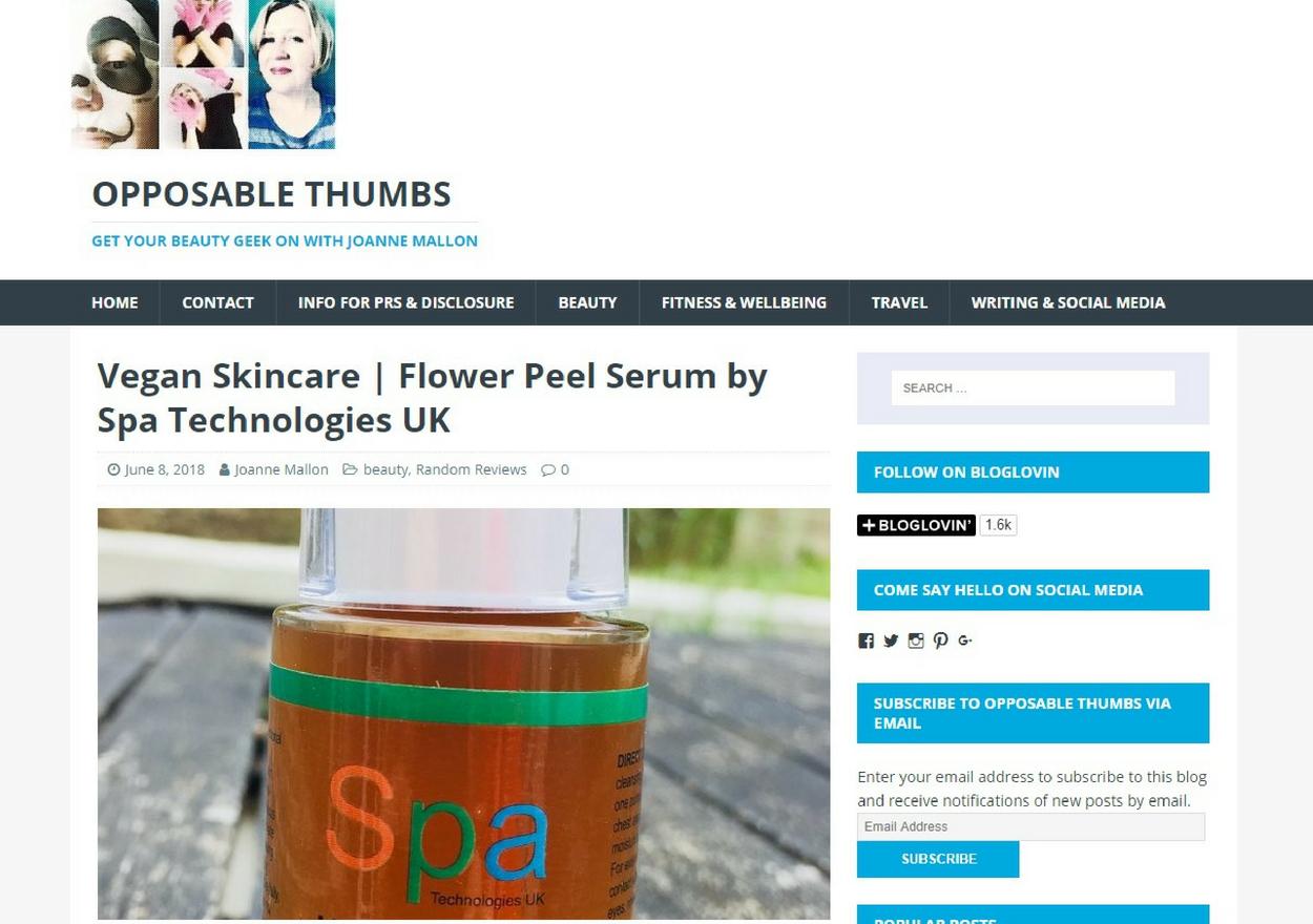 Joanne Mallon @ opposablethumbsblog reviews Flower Peel Serum by Spa Technologies UK